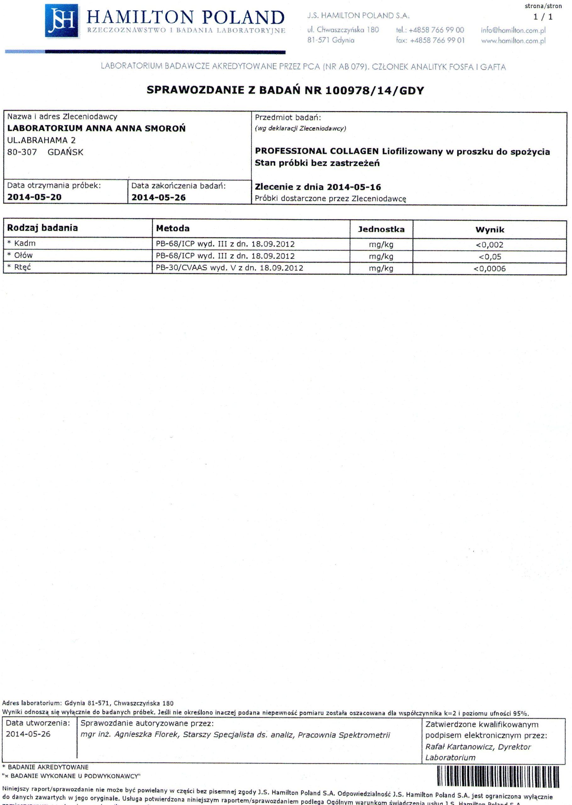 Sprawozdanie z badań Hamilton Poland